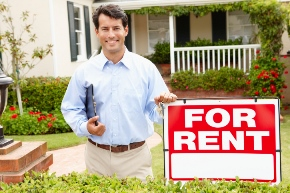 image of man and rental sign