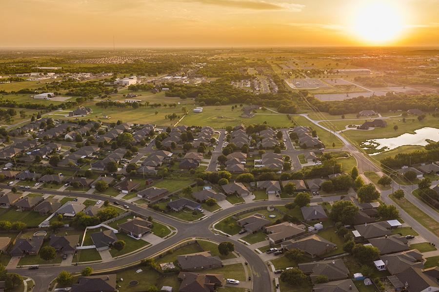 Edmond, OK - Aerial View of Suburban Community at Sunset