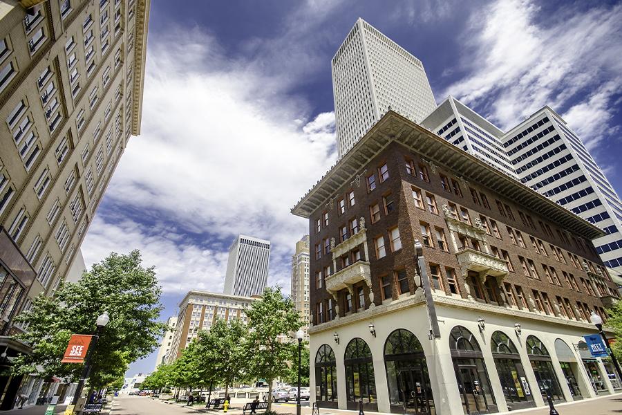 Tulsa, OK - Angled Upward View of City Buildings in Tulsa Oklahoma on a Sunny Day